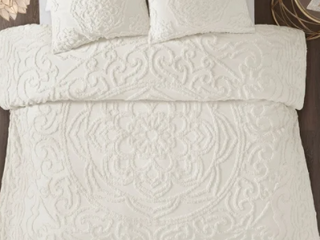 Ivory   King Madison Park Virginia Tufted Cotton Chenille Medallion Duvet Cover Set   Cal King  Retail 111 07
