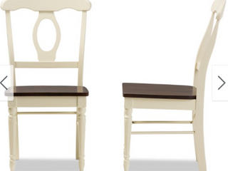Baxton Studio Natasa French Country Cottage Buttermilk and Cherry Wood 2 piece Dining Chair Set  Retail 174 49
