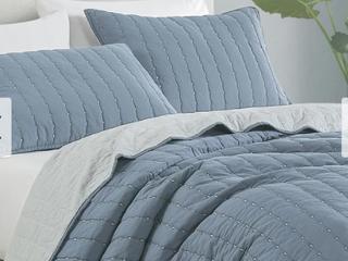 Foggy Blue   Grey Beaute living Cotton Cross Stitching 3 Piece Quilt Set   King  Retail 112 49