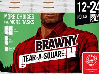 Brawny Tear Square Paper Towels  1 Case 24 Rolls