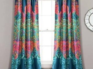Set of Two  4 Panels 84 Inches   Turquoise   Navy  lush Decor Boho Chic Room Darkening Window Curtain Panel Pair