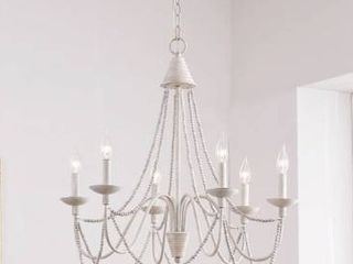 Aubrey Weathered White Wood and Metal 27 inch 6 light Chandelier