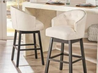 Ogden Beige Swivel Bar Stools  Set of 2  by Christopher Knight Home