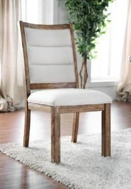 2 Carbon loft Bern Rustic Wooden Dining Chairs  Set of 2   Beige