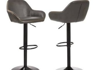 Grey  Glitzhome Mid century leatherette Adjustable Bar Stool  Set of 2  Retail 209 99