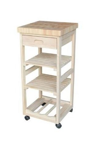 Porch   Den Estelle Unfinished Solid Parawood Kitchen Trolley  Retail 101 99