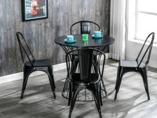 CHAIRS ONlY Industrial Style Iron Patio Dining Chairs Stacking Chair  Set of 4  Retail 127 49