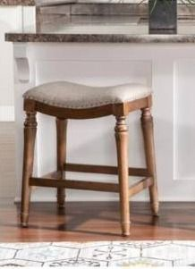 1 Copper Grove Barmstedt Brown Counter Stool with Beige Saddle Seating  Retail 105 99