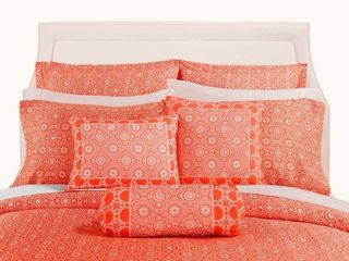 Full Decorative Voyagers Byzantine Collection Coral Floral Duvet Cover Set