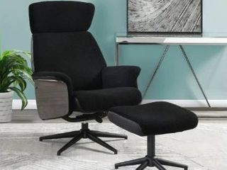 Black Adjustable Height Accent Chair with Ottoman