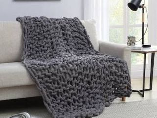 Asher Home Chunky Knit Chenille Throw Blanket  Retail 83 99