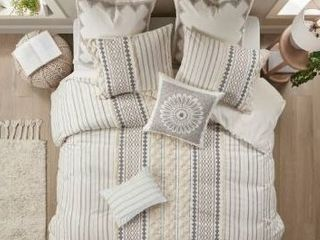The Curated Nomad Clementina Geometric Cotton Duvet Cover Set   Ivory   Full   Queen