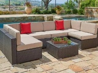 Outdoor 4 piece Wicker Sofa Conversation Set by Havenside Home   Beige Incomplete read description Retail Value  709 99