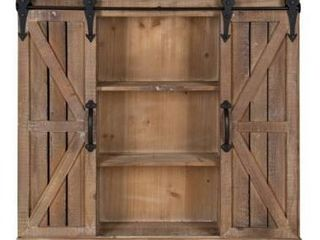 Kate and laurel Cates Rustic Wood Wall Storage Cabinet with Barn Doors   Rustic Brown