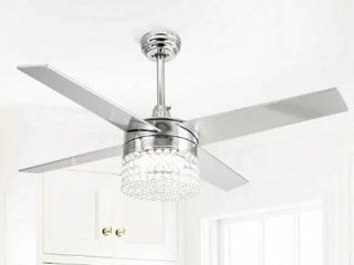 Modern 4 Blades 48 inch Crystal Ceiling Fan with Remote  Retail 188 99