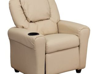 Flash Furniture Kids  Vinyl Recliner with Cupholder and Headrest   Beige