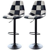 AmeriHome White Checkered Racing Bar Chairs   2 Piece