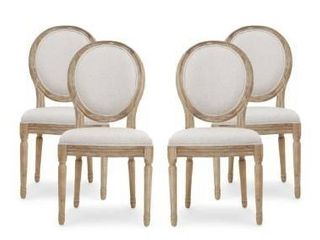 Phinnaeus French Country Fabric Dining Chairs  Set of 4  by Christopher Knight Home  Retail 503 99