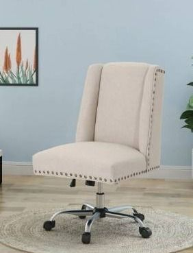 Chiara Home Office Desk Chair by Christopher Knight Home   wheat   chrome
