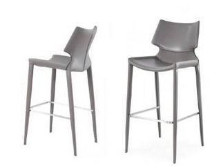 Modrest Hayes Modern Grey Eco leather Bar Stool  Set of 2  Retail  800