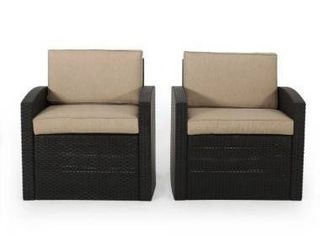 Heald Outdoor Faux Wicker Club Chairs with Cushions  Set of 2  by Christopher Knight Home  Retail 228 99