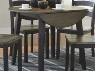 The Gray Barn Earth Dance Brown and Black Wood Round Drop leaf Table  Retail 241 49