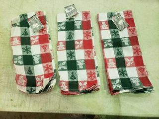 lot of 3 Christmas Kitchen Towels