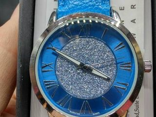Manhattan by Croton Glitter Dial Strap Watch in Blue