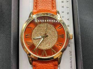 Manhattan by Croton Glitter Dial Strap Watch in Orange