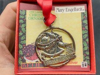 Mary Engelbreit Sterling Silver Santa Claus  Believe  Ornament
