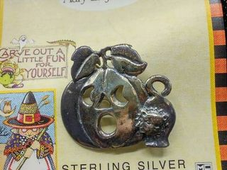 Mary Engelbreit Sterling Silver Pumpkin and Cat Pin