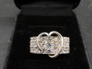 Jose Hess Diamonique Sterling 2 15 ct Total Weight Ring Size 10