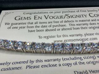 Sterling Silver Regent Cut Tennis Bracelet  Approx  8