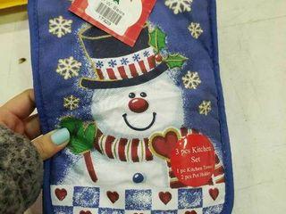 Snowman 3 Pc Kitchen Set