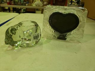 Glass Picture Frame and Glass Napping Cat Dish