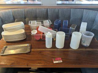 Assorted Plates  Plastic Ware With San Jamar Fruit Holder