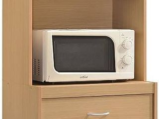 Hodedah long Standing Kitchen Cabinet with Top   Bottom Enclosed Cabinet Space  One Drawer  large Open Space for Microwave  Beech