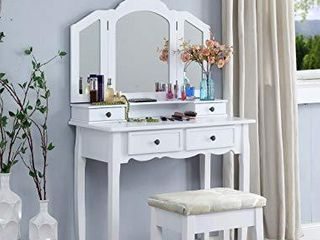 Roundhill Furniture Sanlo Wooden Vanity   Make Up Table and Stool Set   White