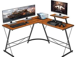 Mr IRONSTONE l Shaped Desk 50 8  Computer Corner Desk  Home Gaming Desk  Office Writing Workstation with large Monitor Stand  Space Saving  Easy to Assemble   Vintage