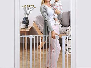 Cumbor 40 6a Auto Close Safety Baby Gate  Durable Extra Wide Child Gate for Stairs Doorways  Easy Walk Thru Dog Gate for House  Includes 4 Wall Cups  2 75 Inch and 5 5 Inch Extension  White