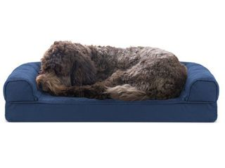 FurHaven Pet Dog Bed Cooling Gel Memory Foam Orthopedic Quilted Sofa Style Couch Pet Bed for Dogs   Cats  Navy  Medium