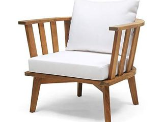 Christopher Knight Home 309123 Dean Outdoor Wooden Club Chair with Cushions  White and Teak Finish
