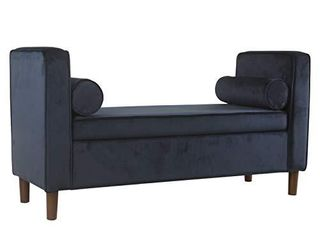 HomePop Rimo Upholstered Armed Storage Bench with Pillows  Dark Navy
