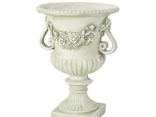 Christopher Knight Home Buena Outdoor 24  Cast Stone Urn  White color with green Moss