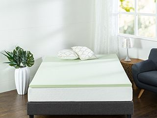 Zinus 1 5 Inch Green Tea Memory Foam Mattress Topper   Green Tea   Charcoal Infused for Freshness   CertiPUR US Certified  Twin