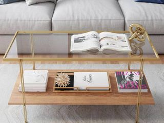Nathan James Asher Mid Century Rectangle Gold Coffee Table with Glass Top Oak Floating Shelf Brass Metal legs