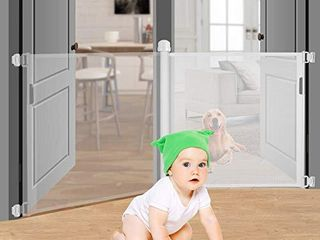 Retractable Baby Gate Safety Fence Mesh Safety Gate for Babies and Pets Extra Wide Safety Baby Gate 34 6  Tall Extends to 59  Pet Dog Gate for Doorways  Stairs Hallways Indoor Outdoor  White