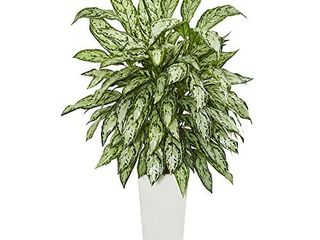 Nearly Natural Artificial Silver Queen Plant in White Tower Planter  28  Dx28 Wx43 H  Green