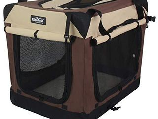 EliteField 3 Door Folding Soft Dog Crate  Indoor   Outdoor Pet Home  Multiple Sizes and Colors Available  30  l x 21  W x 24  H  Brown Beige