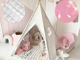 Kids Teepee Tent with Mat   light String  Carry Case  Kids Foldable Play Tent for Indoor Outdoor  Raw White Canvas Teepee   Kids Playhouse   Portable Kids Tent